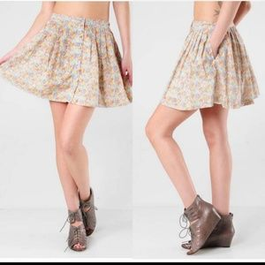 Free people floral high rise button down skirt
